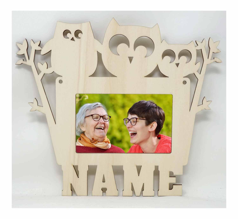 Holz Geschenkidee Eulen Foto Bilderrahmen individuell mit Namen ...