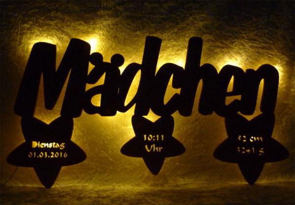 Holz Taufstern Nachtlicht Lampe mit Namen