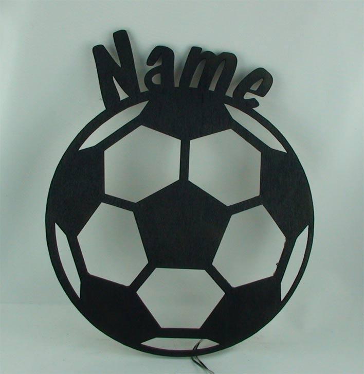 Holz Led Lampe Nachtlicht Fussball Mit Namen Individuell Personalisiert
