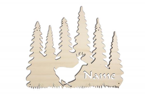 Holz Schlüsselbrett Wald und Hirsch