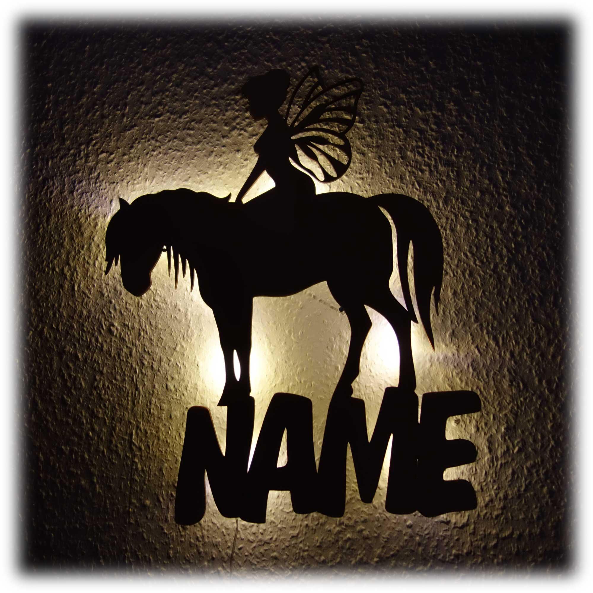 Fee Pferd LED Holz Lampe Nachtlicht mit Namen und Daten ...
