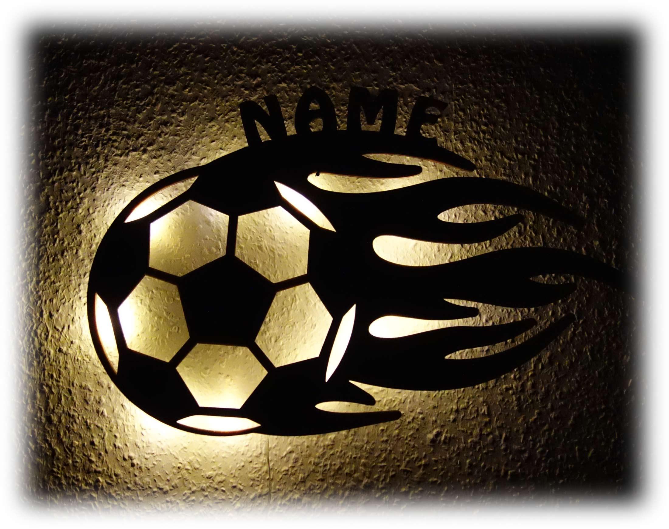 Fussball Flammen Nachtlicht Lampe Mit Name
