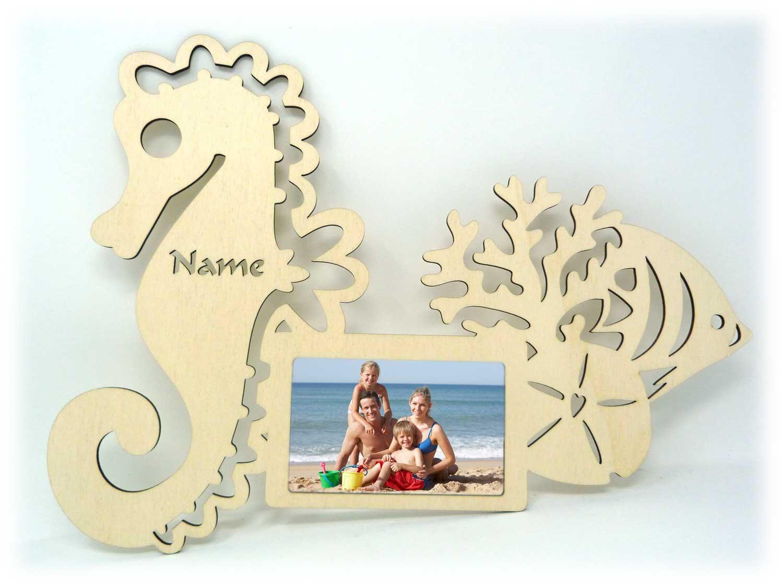 Seepferdchen Holz Bilderrahmen individuell mit Namen personalisiert ...