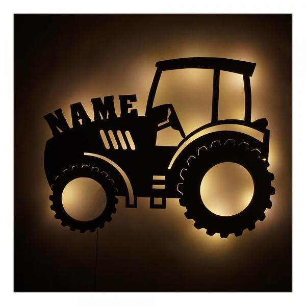 763070d7e8 LED Kinder Holz Traktor Nachtlicht Geschenkidee mit Namen ...