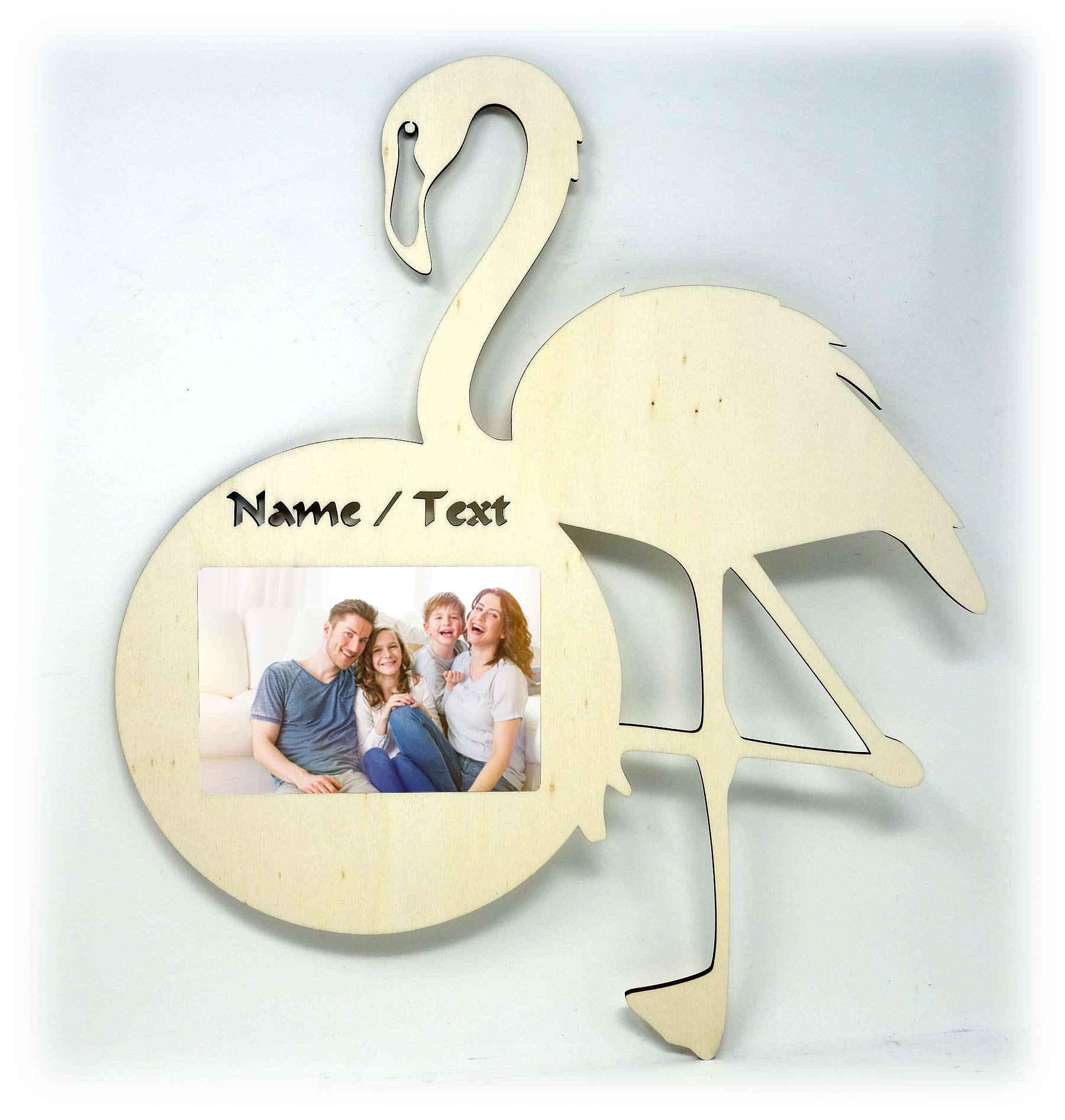 Holz Flamingo Wand Bilderrahmen individuell + Namen personalisiert ...
