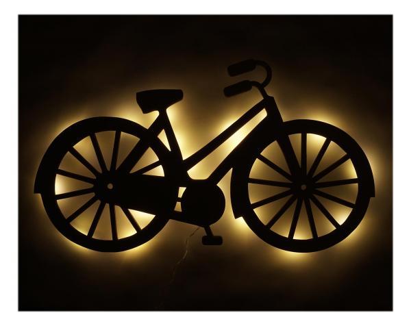 Holz LED Lampe Nachtlicht Geschenkidee Fahrrad