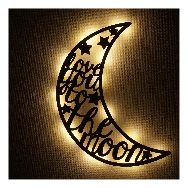 mond liebe holz geschenke led licht nachtlicht lampe f r. Black Bedroom Furniture Sets. Home Design Ideas