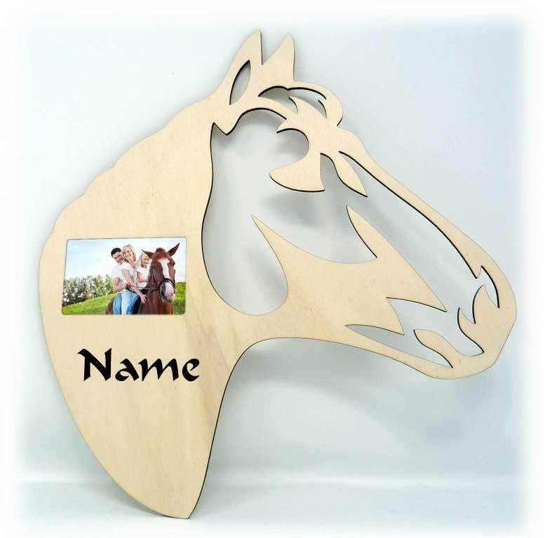 Pferdekopf Holz Bilderrahmen individuell mit Namen personalisiert ...