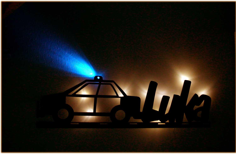 led polizei lampe nachtlicht f r kinder mit namen und. Black Bedroom Furniture Sets. Home Design Ideas