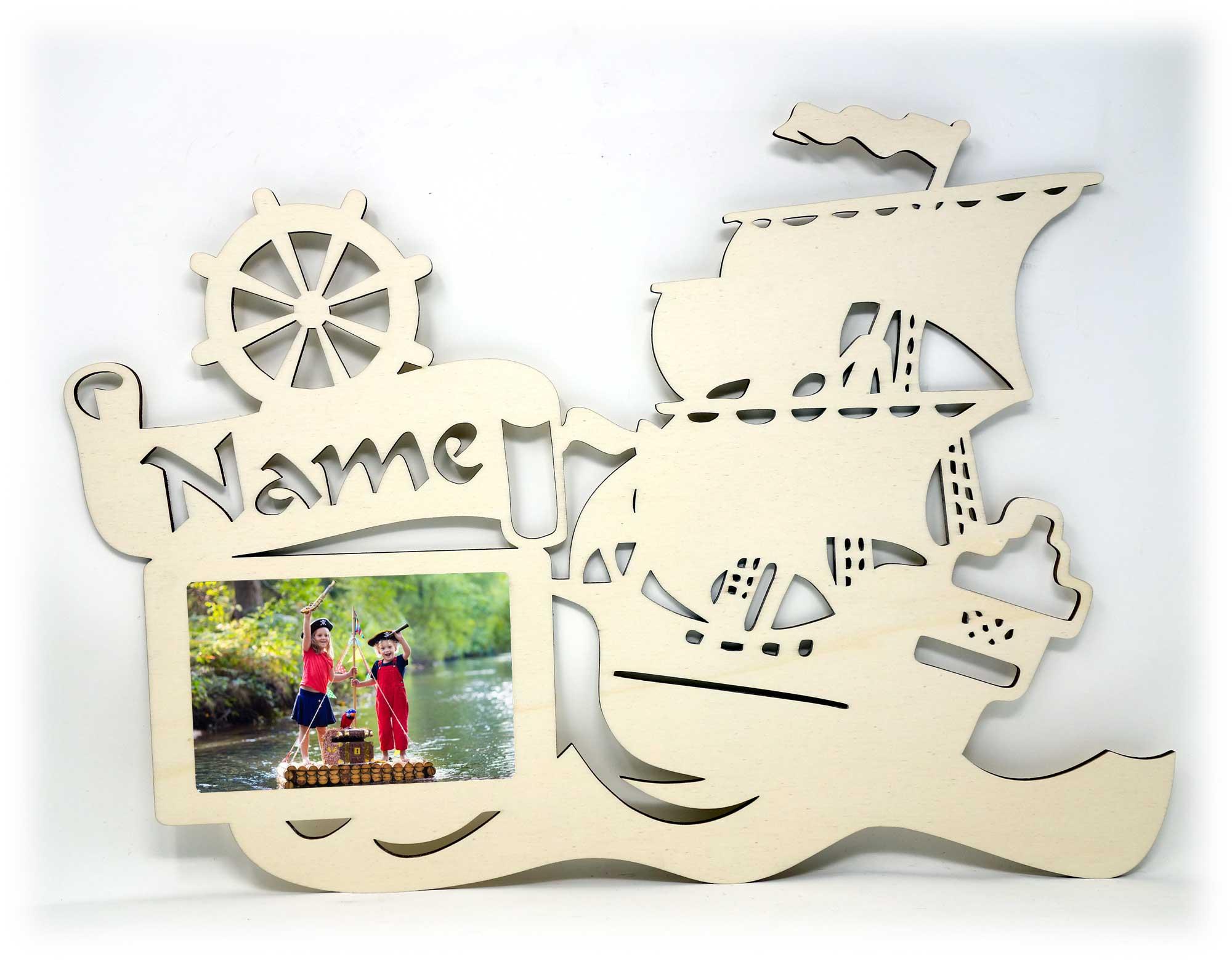 Piratenschiff Holz Bilderrahmen individuell mit Namen personalisiert ...