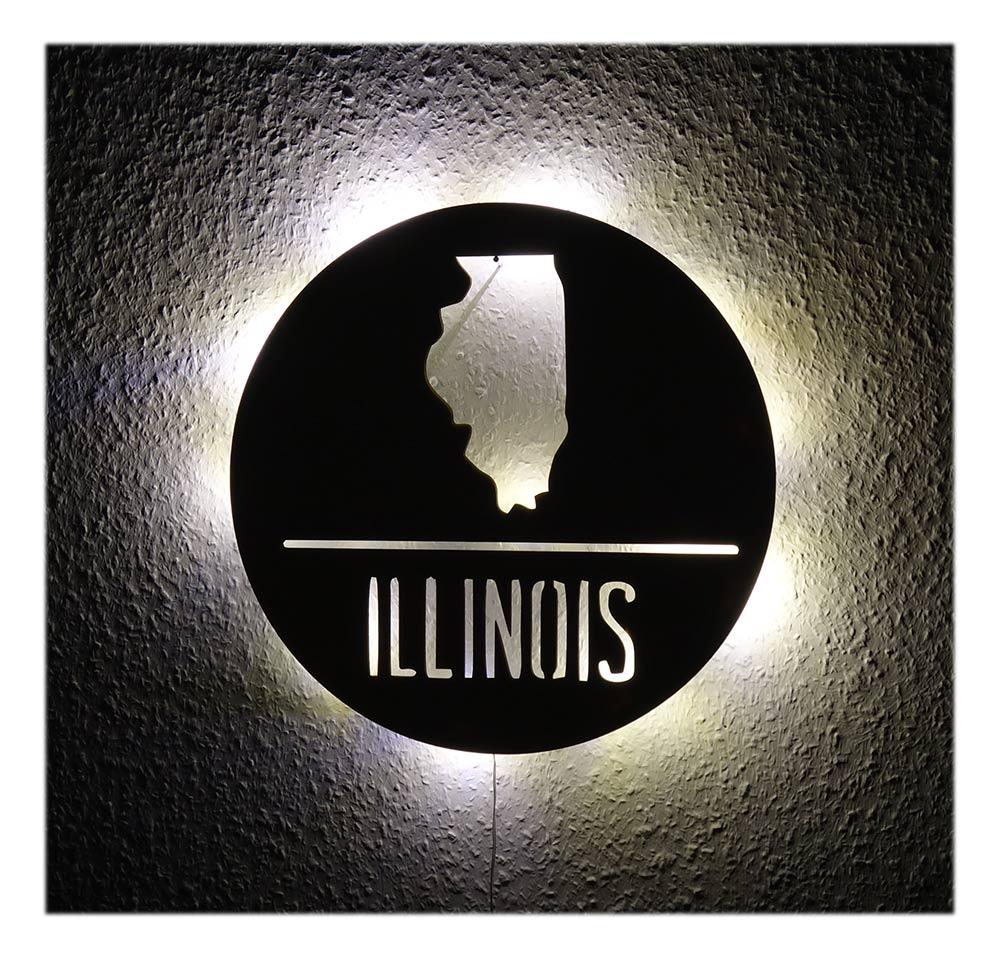 LED Illinois USA Holz Deko Geschenkidee Personalisiert Mit