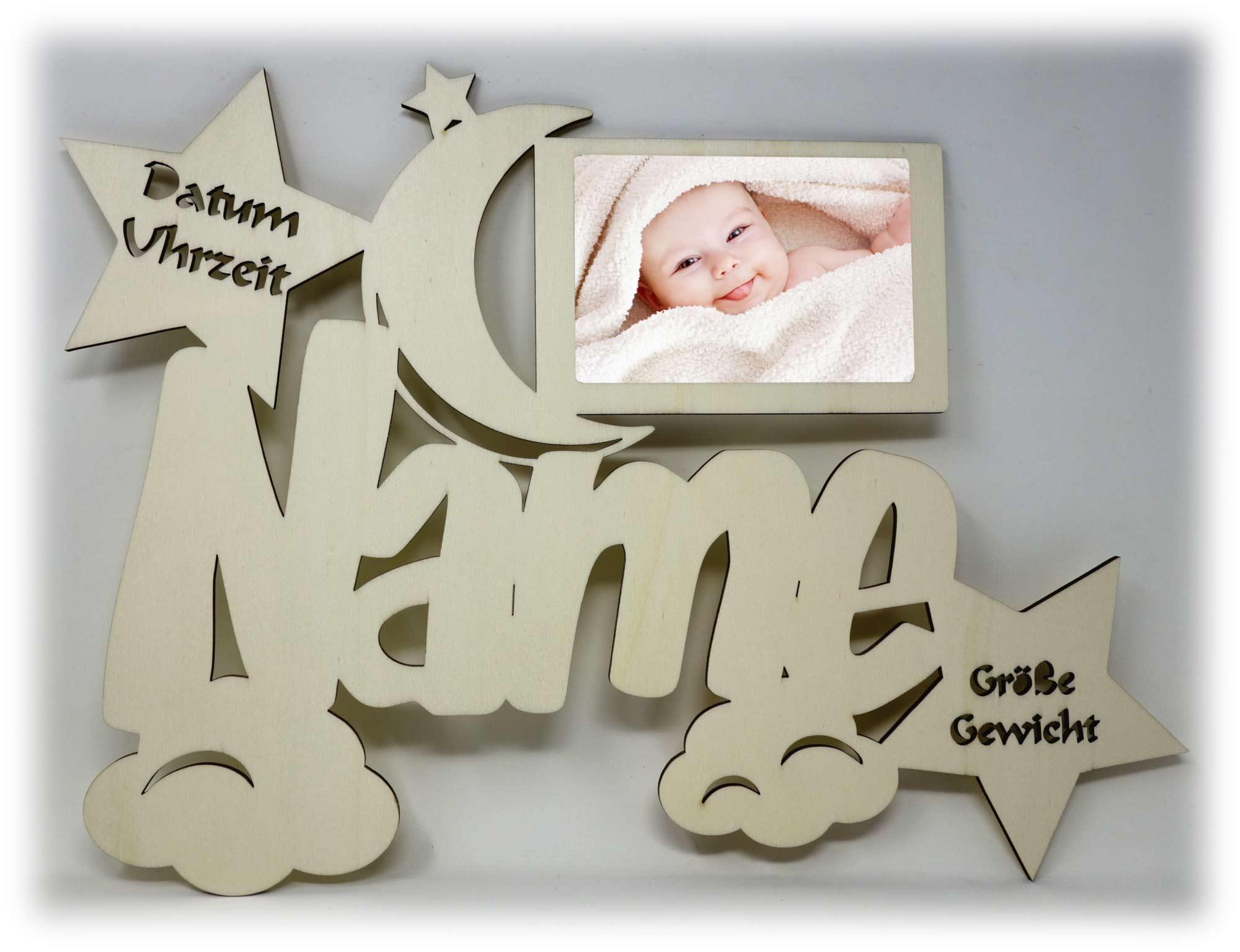 Baby Kinder Holz Bilderrahmen mit Namen und Geburtsdaten ...