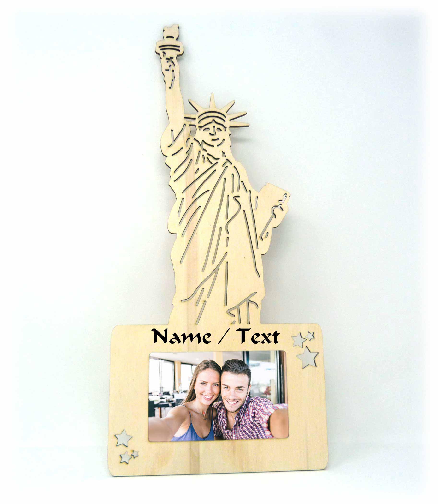 Geschenkidee USA Freiheitsstatue Holz Bilderrahmen individuell + ...