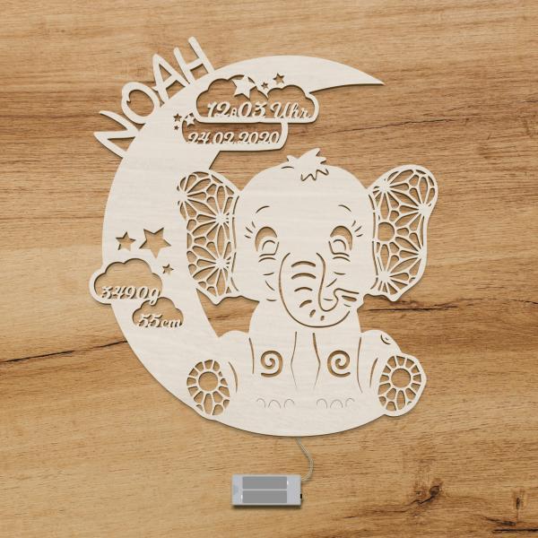 Elefant Nachtlicht mit Namen Kinderzimmer Deko LED beleuchtet