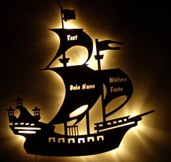 Piratenschiff LED Nachtlicht mit Namen