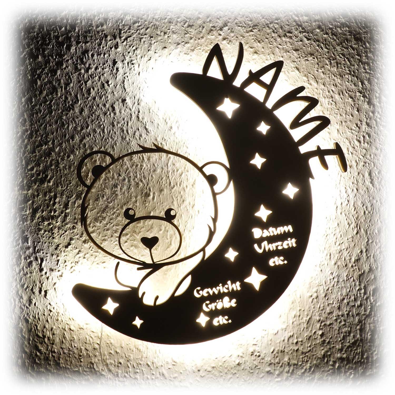 teddy auf mond led holz lampe nachtlicht m dchen junge kinder babys. Black Bedroom Furniture Sets. Home Design Ideas