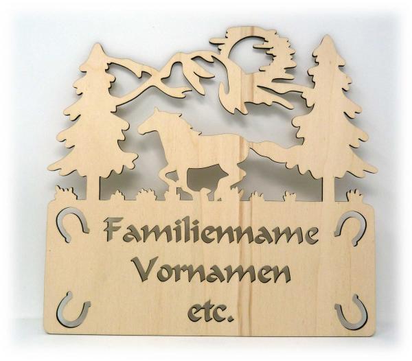 Holz Türschild Familie Pferd