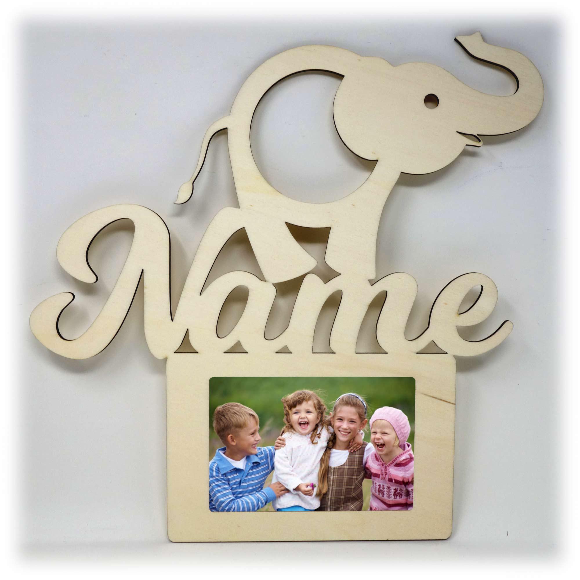 Elefanten Holz Bilderrahmen individuell mit Namen personalisiert ...