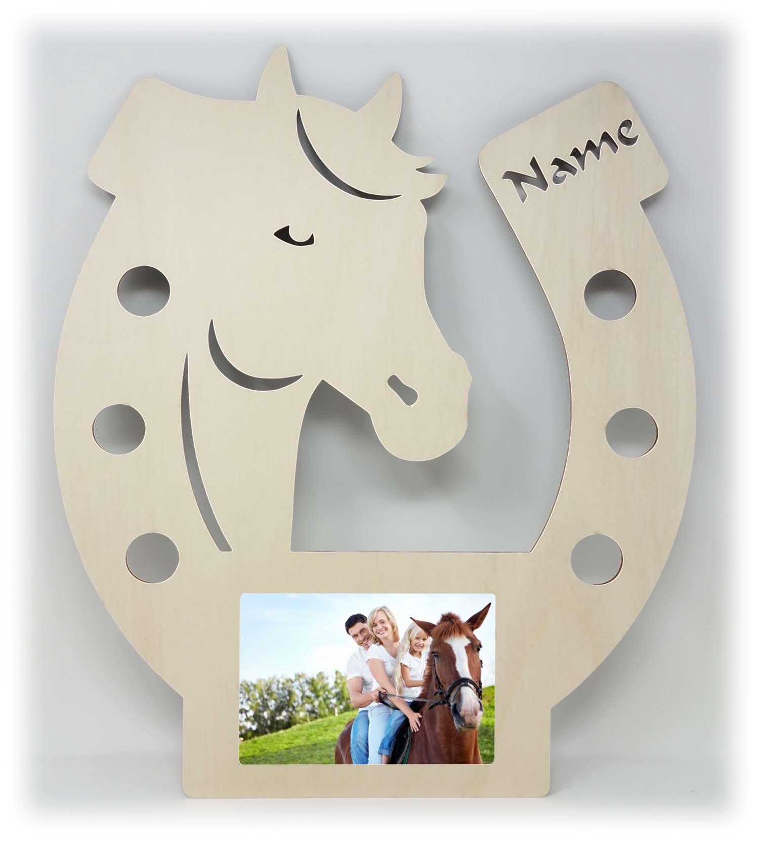 Hufeisen Pferd Bilderrahmen individuell mit Namen personalisiert ...