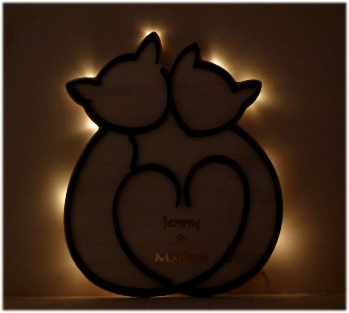 love holz katzen geschenkidee individuell mit name und. Black Bedroom Furniture Sets. Home Design Ideas