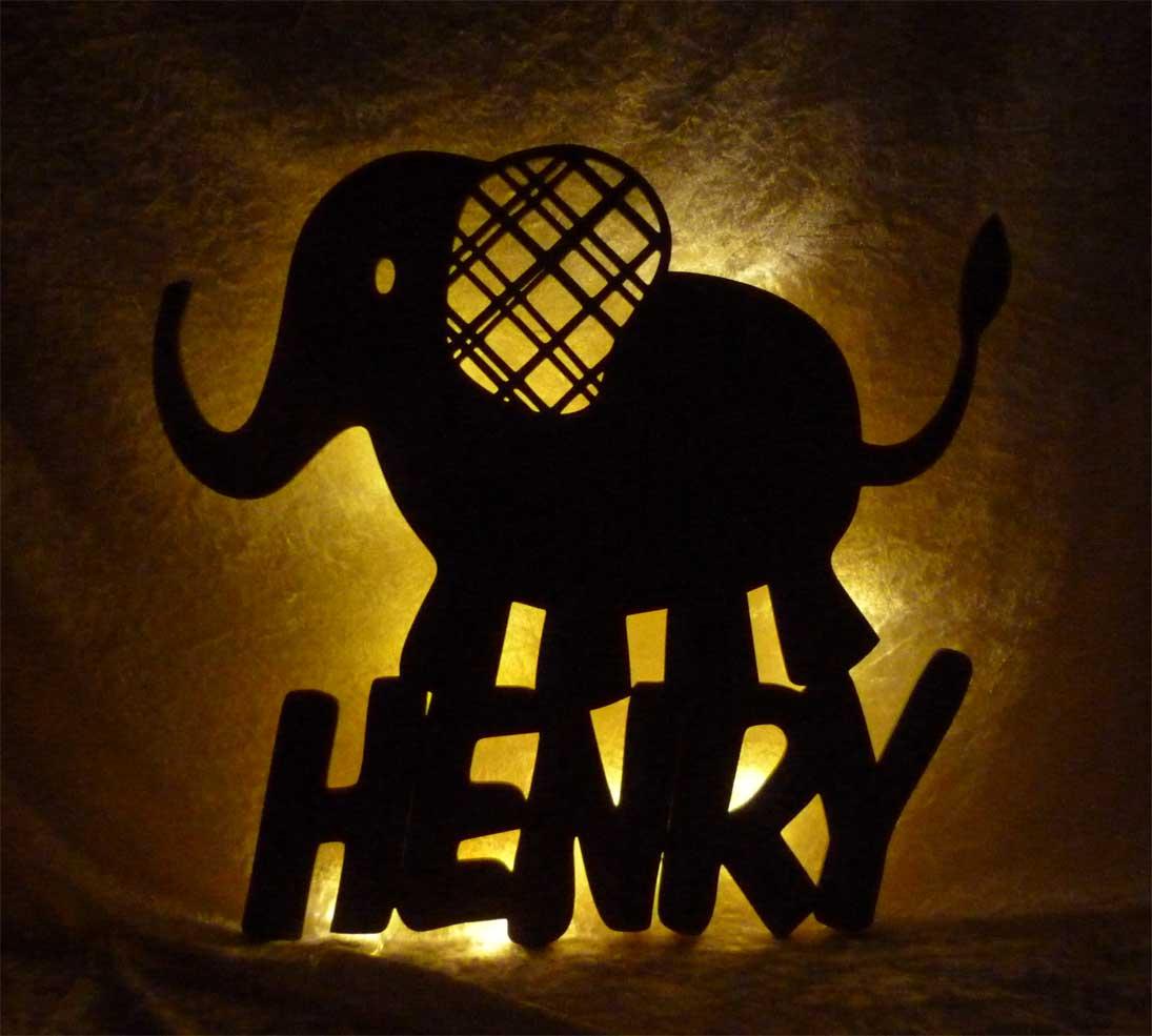 Elefanten Deko Lampe Nachtlicht für Kinder Erwachsene mit Namen ...