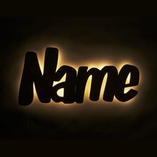 Personalisiertes Nachtlicht mit Name aus Holz, beleuchtet