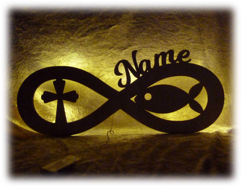 Unendlichkeitszeichen Fisch Und Kreuz Zur Taufe Mit Namen