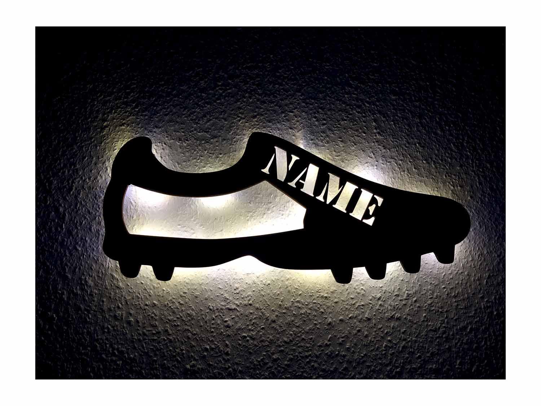 Holz Led Lampe Nachtlicht Fussball Schuh Mit Namen