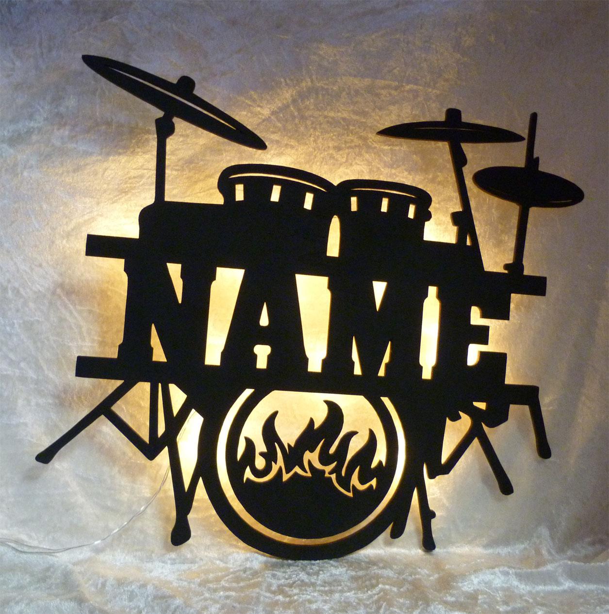 Musik Name Lampe Nachtlicht Deko Licht mit Wunschnamen für Musiker Musikschule