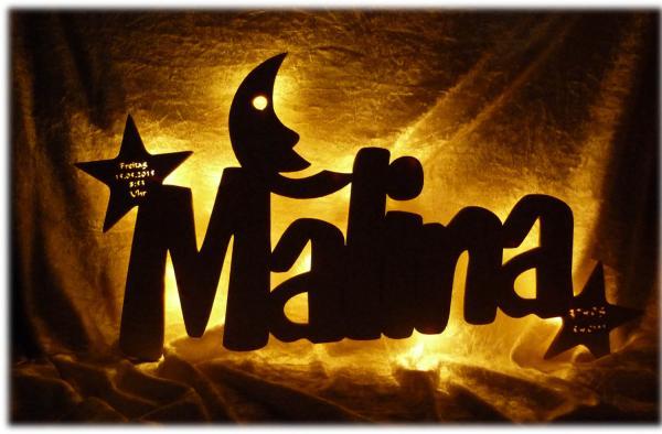 Kinder Sterne Mond Lampe mit Namen und Datum